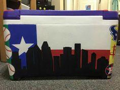 texas flag lonestar Houston outline skyline cooler side