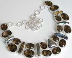Gemstone : Faceted Smoky Topaz, Biwa Pearl,,Length : 18 Inches,,Total Weight: 162.0 gms us$38