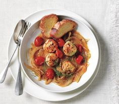 Seared Scallops With Fennel and Cherry Tomatoes: To get a nice sear on your scallops, make sure that they are very dry—and that the oil is very hot—before you add them to the skillet.