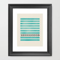 TEAL STRIPES AND ARROWS Framed Art Print by Allyson Johnson - Society6