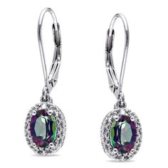 Miadora Sterling Silver Exotic Green Topaz and Diamond Dangle Earrings   Overstock.com Shopping - Top Rated Miadora Gemstone Earrings