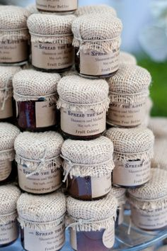 mini jam jars with a burlap top