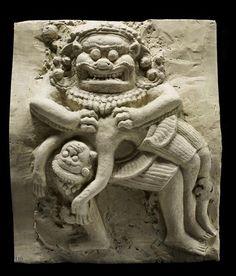 Lord Nrsimha killsHiranyakashipu, relief from Prasat Krahan, Cambodia