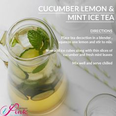 Drink up the  cucumber and when life gives you lemons put them in your ice tea to bring the  Stay  Mint Iced Tea, Fresh Mint Leaves, Pickles, Cucumber, Good Food, Happiness, Drinks, Health, Recipes