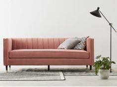 Evadine 3 Seater Sofa, Blush Pink Velvet Sofa Chair, Sofa Design, Furniture Sale, Furniture Design, Furniture Ideas, Armchairs For Sale, Three Seater Sofa, Large Sofa, Amor