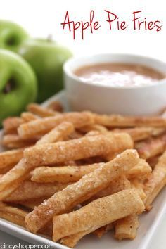 Apple Pie Fries -Super fun spin on a traditional apple pie. Dip them in caramel or even whipped cream for extra yumminess.