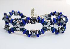 Blue & Silver Beaded Bracelet  Blue Grey by BeauBellaJewellery #bracelet #blue #silver #beads #statement #jewelry #etsy #handmade