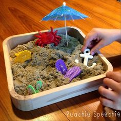 Kinetic Sand in Speech Therapy I have always loved using Play-Doh during speech therapy sessions. But sand? Sand is messy and in order to build anything with it,. Speech Therapy Games, Speech Activities, Sensory Activities, Hands On Activities, Sensory Play, Sand Play, Kinetic Sand, Speech Pathology, Speech And Language