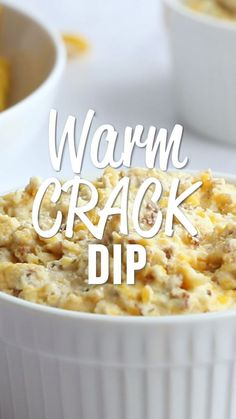 Warm Crack Dip – The ORIGINAL recipe! Sour cream dip loaded with cheddar, bacon… Warm Crack Dip – The ORIGINAL recipe! Sour cream dip loaded with cheddar, bacon and ranch dip – this stuff is SO addicting! This is always the first thing to go at a party! Appetizer Dips, Yummy Appetizers, Easy Make Ahead Appetizers, Best Appetizer Recipes, Cheese Appetizers, Appetizers For Party, Recipes Dinner, Yummy Food, Tasty