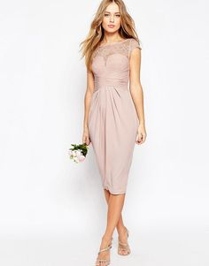 ASOS | ASOS WEDDING Lace Top Pleated Midi Dress at ASOS