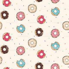seamless pattern with donuts royalty-free stock vector art Free Vector Graphics, Free Vector Art, Vector Vector, Donut Cartoon, Donut Vector, Cool Doodles, Print Wallpaper, Pattern Illustration, Wonderful Images