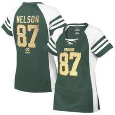Women's Green Bay Packers Jordy Nelson Majestic White Draft Him Fashion Top V-Neck T-Shirt