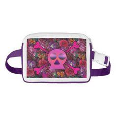 Pink Skull and Floral Retro 90s Bum Bag - accessories accessory gift idea stylish unique custom