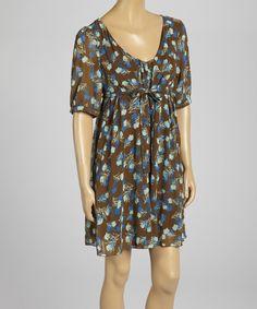Brown Floral Empire-Waist Dress by Aryeh #zulily #zulilyfinds