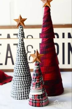 Flannel Trees Diy Flannel Trees Flannel Christmas Decorations Flannel Christmas Happy New Year Diy Christmas Crafts To Sell, Holiday Crafts, Christmas Craft Projects, Diy Projects, Holiday Recipes, Holiday Decor, Plaid Christmas, Christmas Holidays, Christmas Ideas
