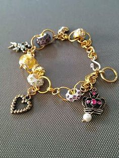 "Gold Euro Bead Charms Chain Bracelet ""Fairy Dust"" from www.tahoebluedesigns.com"