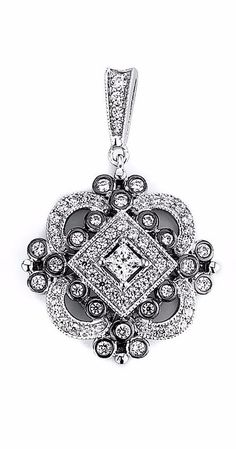 Vintage Antique Multi Cubic Zirconia Drop Pendant (Black Rhodium)