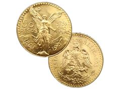 "50 Peso Mexican Gold Bullion Coin 37.5 Grams | First issued in 1921 to commemorate the 100th anniversary of Mexico's independence from Spain, the Mexican 50 Pesos Gold Coin is also known as the ""Centenario."" The coin contains 37.5 grams of gold."