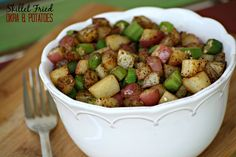 Skillet Fried Okra and Potatoes @addicted2recipe