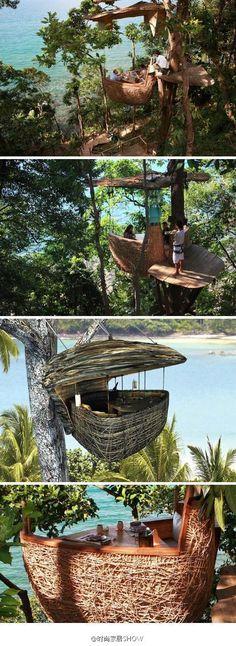 Thailand unique tree house restaurant, located Soneva Kiri Resort