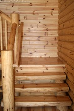 pics of staircases inside log homes