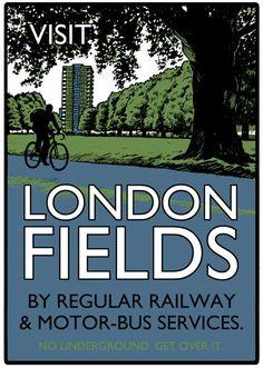 Vintage style screenprint Visit London Fields by beyondthrilled, £55.00