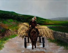 paintings of ireland | Martin Driscoll Painting of a wagon, horse and hay in Ireland