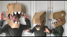 How to make a Dinosaur Head costume out of cardboard. Dress up as your favourite T-Rex Dinosaur this halloween or fancy dress party with this Dinosaur head c. Make A Dinosaur, Dinosaur Head, Dinosaur Party, Dinosaur Crafts, Dinosaur Halloween Costume, T Rex Costume, Cardboard Costume, Diy Cardboard, Diy For Kids