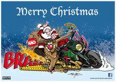 Weihnachten, Christmas, Illustration, Comic, Motorrad, Motorcycle, Santa Clause, Nikolaus, Steven Flier, Motorrad Magazin MO, Rudi, Red Nose, Rentier, Reindeer, Ducati, Diavel
