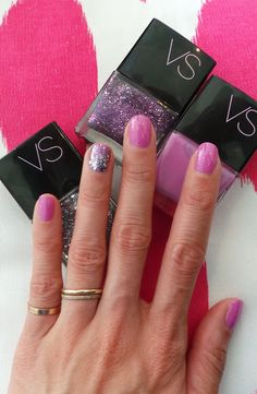 The perfect lilac-y pink (aptly named Perfect) with an accent nail in Drama Queen, dusted over in Star Power. All by Victoria's Secret.