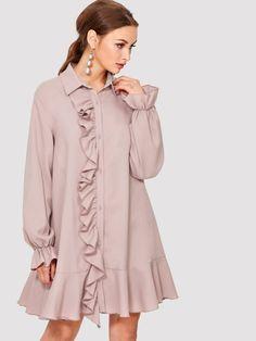 Button Up Ruffle Trim Dress -SheIn(Sheinside) Muslim Fashion, Modest Fashion, Hijab Fashion, Fashion Outfits, Simple Dresses, Casual Dresses, African Fashion Dresses, Blouse Designs, Designer Dresses
