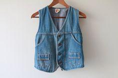 1970s Mustang Denim and Leather Trim Vest / Vintage 70s Denim / Medium