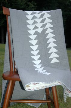Modern Quilt in Gray and White Flying Geese Pattern