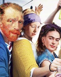 Hipster artists modernized from Van Gogh, Frida Kahlo and Vermeer. Art Memes, Memes Arte, Vincent Van Gogh, Bd Pop Art, Arte Van Gogh, Mona Lisa Parody, Photocollage, Arte Pop, Funny Art
