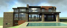Rear Elevation of Contemporary   Modern   House Plan 67596