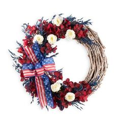 Americana Wreath With Ribbon ($70) ❤ liked on Polyvore featuring home, home decor, ribbon wreath and americana home decor