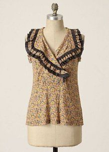Anthropologie One September Suave Shell Top Yellow/Gray Floral