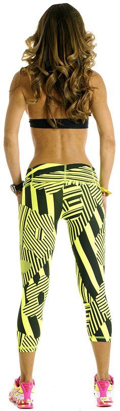 BohnoFitWear Neon Yellow Capri Workout Gear workout clothes www.sandiegofit.com