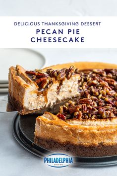 Delicious and easy to make, this Pecan Pie Cheesecake recipe is a mash-up of two of the best desserts. With PHILADELPHIA Cream Cheese as its base, this recipe includes traditional cheesecake ingredients upon new additions like sour cream, maple syrup and a pecan topping. It's the cheesecake taste you love with a Fall twist that will have you coming back for more. Recipe and 📸: @miss.allieskitchen