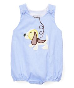 Look at this Barefoot Children's Clothing Blue Gingham Puppy Appliqué Bubble Romper - Infant & Toddler on #zulily today!