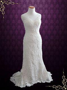 Elegant Vintage Style Garden Rose Lace Wedding Dress  Jordana