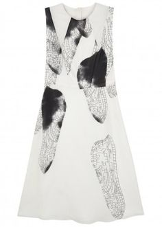 White printed silk dress