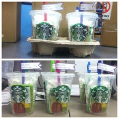 Thank you gifts.  You're a Lifesaver.  Thanks for all the extra work.  Starbucks gift cards with lifesavers and extra gum inside.
