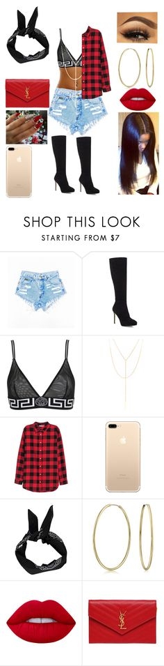 """""""Red,Black & Gold"""" by clondono ❤ liked on Polyvore featuring Jimmy Choo, Versace, South Moon Under, H&M, Boohoo, Bling Jewelry, Lime Crime and Yves Saint Laurent"""