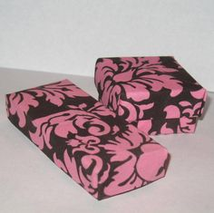Pink and Brown Damask Fabric Origami Box by ColieArtBooksnBoxes
