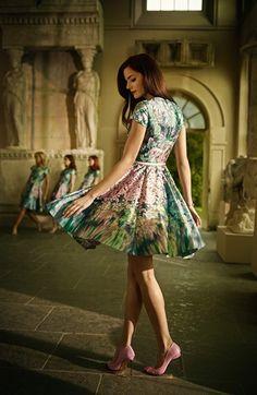 7af4038b4416a  Glitch  Floral Print Fit   Flare Dress. Pink PumpsTed Baker ...