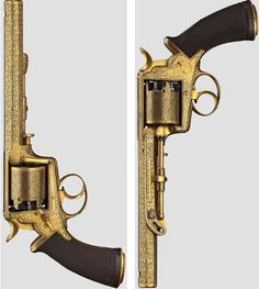 """An """"Adams' Patent"""" revolver, engraved, gilded, Great Britain, circa 1860"""