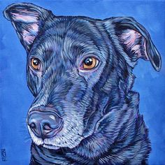 """Custom Pet Portrait Painting on Canvas in Acrylic Paint 8"""" x 8"""" x .75"""" Mounted of One Dog, Cat, Ferret, Rabbit, Horse or Other Small Animal. Lexi the Labrador Mix Sample from PetPortraitsbyBethany.com"""