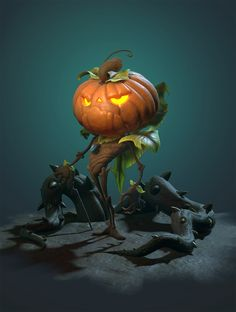 I'd love this as a figure Fete Halloween, Halloween Themes, 3d Character, Character Design, Character Concept, Pumpkin Man, Pumpkin Faces, Halloween Illustration, Creepy Pictures