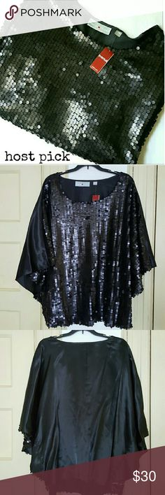 Avenue|| Top HP   8/16 Black top- 100% polyester. Small circle embellishment, similar to sequins.  Some may be missing throughout. Black is plain. Dolan/cape like sleeve. Size 18/20 Avenue Tops